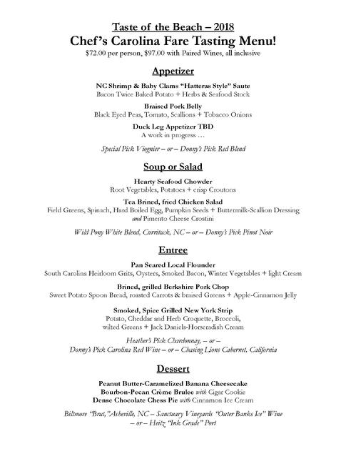 Chef's Tasting Menu of Carolina Fare!